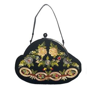 Moschino Black Embroidered Shoulder Bag Clutch